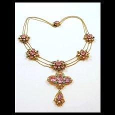 Glittering Georgian Foiled Pink Topaz Festoon Necklace c. 1820