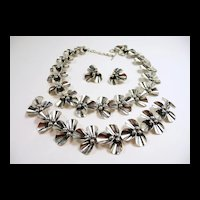 Evocative N. E. From Denmark Floriform Sterling Parure c. 1950