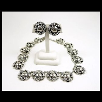 Intricate N. E. From Denmark Mid-Century Floral Demi-Parure c. 1950