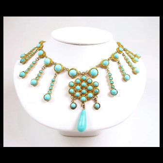 Perfect Persian Turquoise Victorian Fringe Necklace c. 1880