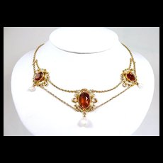 Seductive Art Nouveau Festoon Necklace with Madeira Citrine and Natural Pearls c. 1890