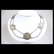 Historic Artisan Roman Coin Handmade Festoon Necklace AD 81-249