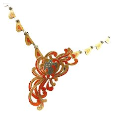 Colorful Margot de Taxco Chrysanthemum Necklace #5685 c. 1955