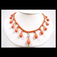 Auspicious Victorian Coral Diamond Necklace c. 1865