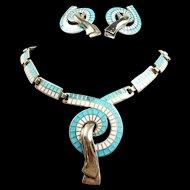 Sleek Ribbons from Swirl Margot de Taxco Demi-Parure #5556 c. 1955