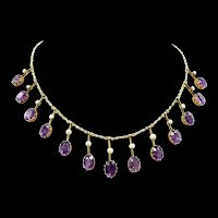 Delectable Victorian Fringe Amethyst Necklace c. 1890