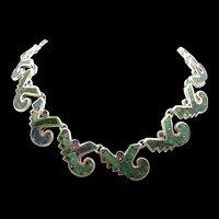 Soaring Los Castillo Mosaico Azteca Necklace c. 1955