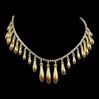 Floaty Fringe Amhpora Gold Necklace c. 1880