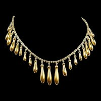 Floaty Fringe Victorian Gold Necklace c. 1880