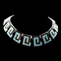 Classic Margot de Taxco Greek Key Necklace #5442 c. 1955