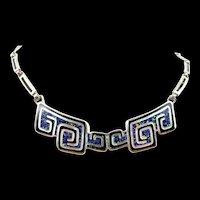 Sleek Margot de Taxco Melange Enamel Necklace #5530 c. 1960