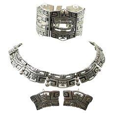 Pleasing Pre-Columbian Design Margot de Taxco Parure c. 1955