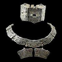 Pleasing Pre-Columbian Style Margot de Taxco Parure #5280 c. 1955