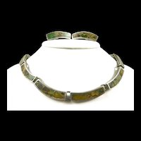 Interesting Inlaid Stone Mid-Century Modern Demi Parure c. 1955