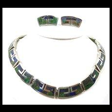 Magical Mosaico Azteca Design #170 Demi Parure c.1950-1965