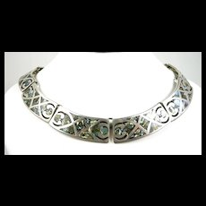 Perfectly Pre Eagle Abalone Inlay Taxco Necklace c. 1945