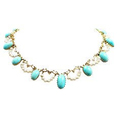 Beautiful Belle Epoque Persian Turquoise Necklace c. 1880