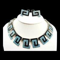 Gorgeous Margot de Taxco Greek Key Necklace #5542 c. 1955