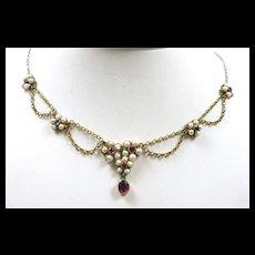Sweet Honeymoon Festoon Necklace c. 1870