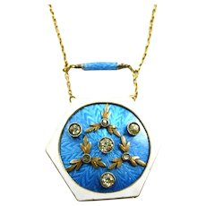 Fabulous Antique Russian Enamel Pendant Necklace c. 1908