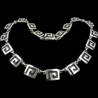Beautiful Victoria Brilanti Taxco Plaque MCM Necklace c. 1960