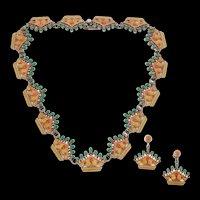Unusual Margot de Taxco Enamel Demi-Parure #5623A c. 1955