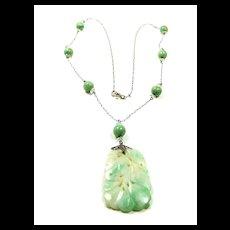 Alluring Art Deco Carved Jade Flapper Necklace c. 1920
