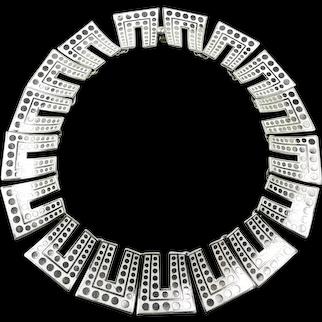 "Intriguing Margot de Taxco Enamel ""Modern Dots"" Necklace #5586 c. 1955"