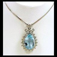 Fab Aquamarine & Diamond Pendant c. 1978