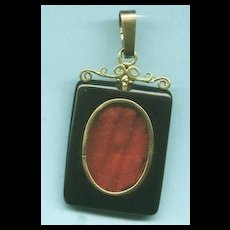 Exciting Civil War Era Victorian Onyx and Diamond Pendant c. 1860