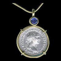 Thrilling Handmade Roman 2000 Year Old Silver Coin and Montana Sapphire Pendant