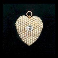 Victorian 14kt. Yellow Gold Pearl Encrusted w Diamond Heart Brooch/ Pendant c. 1880
