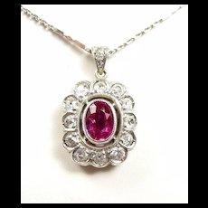 Electric Edwardian Pink Sapphire Diamond Platinum Pendant c. 1910