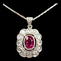 Electric Edwardian Pink Sapphire Diamond Platinum Pendant c. 1910