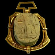 Magnificent Ancient Egyptian Scarab Pendant c. 1685 BC and 1870