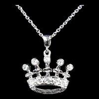 Regal Vintage Crown Diamond Pendant