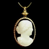 Incredible Onyx and Natural Pearl Cameo Pendant in Gold dated 1876