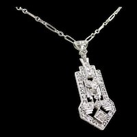 Architectural Art Deco Diamond Platinum Gold Necklace c. 1925