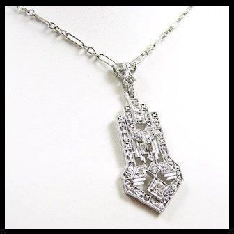 Architectural Art Deco Diamond Platinum Gold Necklace c. 1925