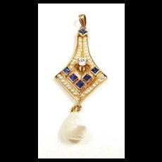 Scrumptious Nouveau Pendant Diamonds Sapphires Pearls c. 1900