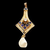 Scrumptious Art Nouveau Pendant with Diamonds, Sapphires & Natural Pearls c. 1900