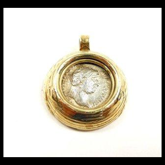 Ancient Hadrian Silver Denarius Coin  Handmade Pendant c. 130AD