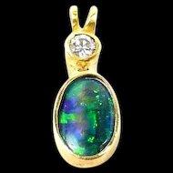 Harlequin Black Opal Handmade Pendant