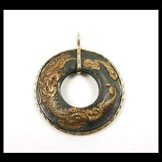 Artisan Hand Crafted Pendant with Antique Dragon Fuchi