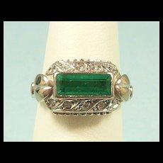 Dramatic Handmade Emerald Diamond Fashion Ring c. 1950