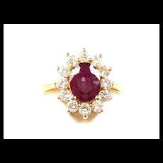 Scrumptious Ruby Red Ladies Vintage Fashion Ring