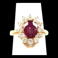 Scrumptious Ruby Red and Diamond Ladies Vintage Fantasy Fashion Ring