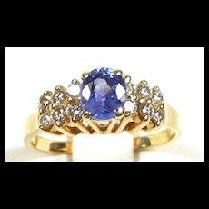 Spectacular Violet Blue Sapphire Diamond Fashion Ring