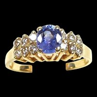 Spectacular Natural Violet Blue Sapphire and Diamond Ladies Fashion Ring