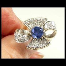 Tantalizing Blue Sapphire & Diamond Ring c.  1955